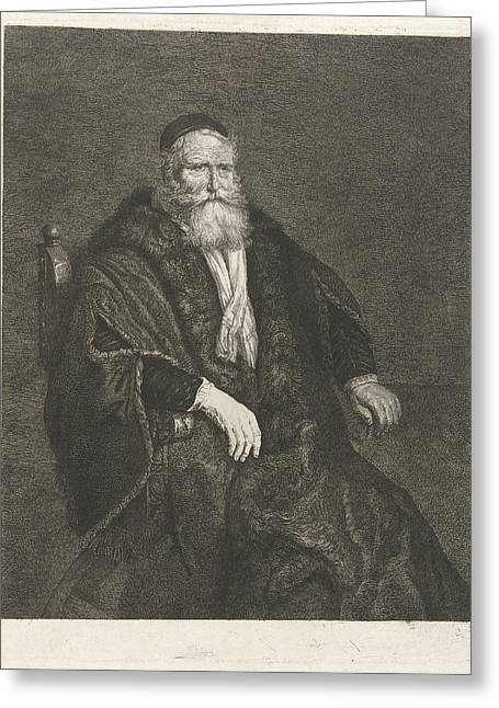 Portrait Of An Unknown Old Man In An Armchair Greeting Card