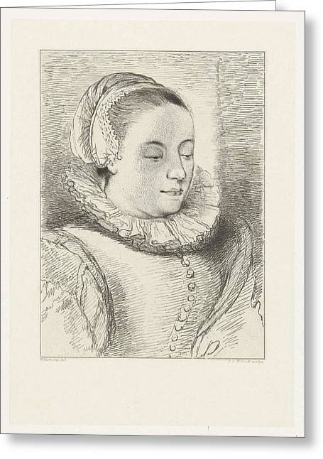 Portrait Of Anna Roemers Visscher, Print Maker Johannes Greeting Card by Artokoloro
