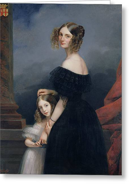 Portrait Of Anne-louise Alix De Montmorency, With Her Daughter, C.1840 Oil On Canvas Greeting Card