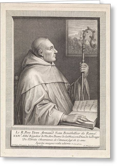 Portrait Of Armand Jean Le Bouthillier De Ranc Greeting Card by Pieter Van Schuppen And Fran?ois Muguet