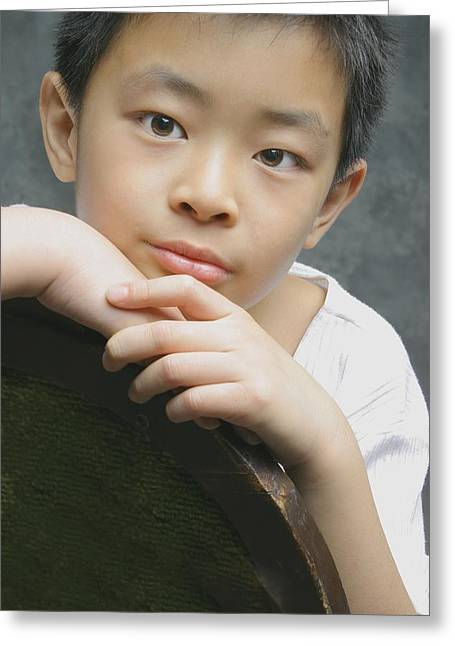 Portrait Of Asian Boy Greeting Card by Ross Germaniuk