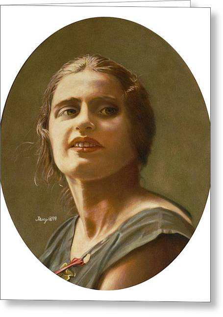 Portrait Of Ayn Rand Greeting Card by Robert Tracy