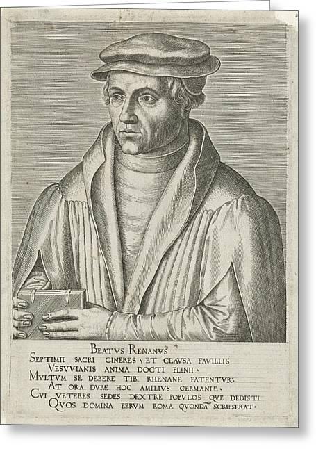 Portrait Of Beatus Bild, Philips Galle, Hadrianus Junius Greeting Card