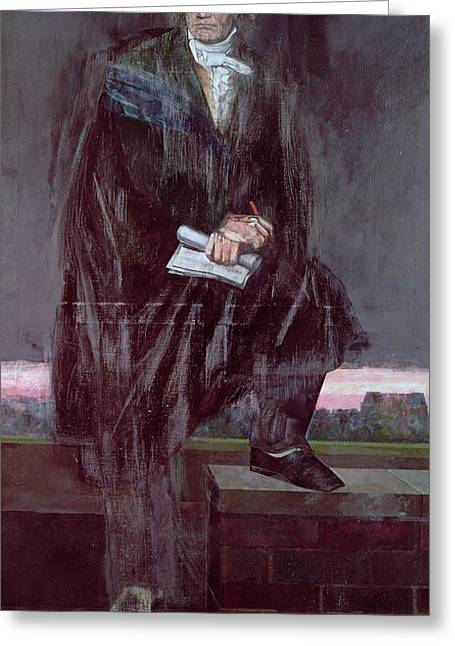 Portrait Of Beethoven Unfinished Greeting Card by Barry Fantoni