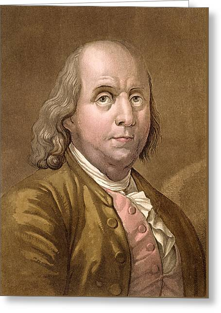 Portrait Of Benjamin Franklin Greeting Card by Gallo Gallina