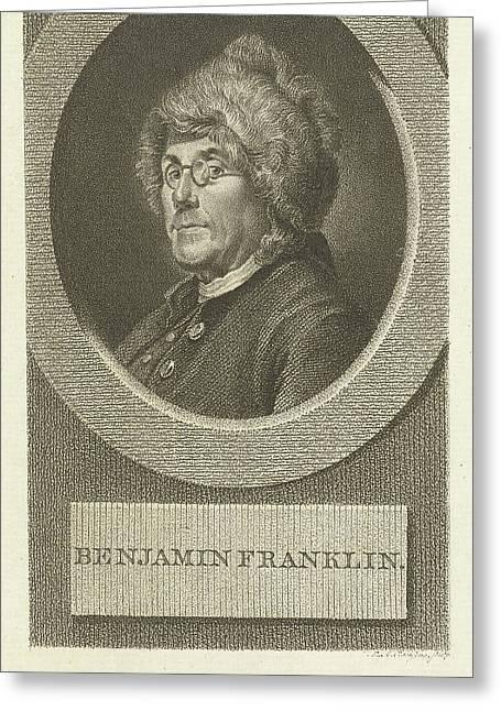 Portrait Of Benjamin Franklin, Lambertus Antonius Claessens Greeting Card by Lambertus Antonius Claessens