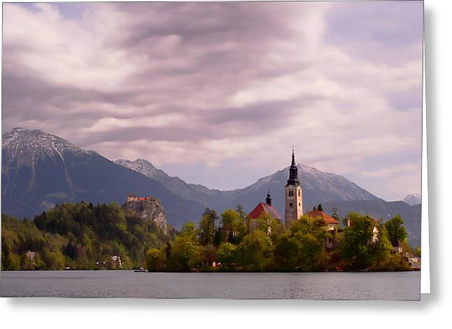 Portrait Of Bled Slovenia Greeting Card by Graham Hawcroft pixsellpix