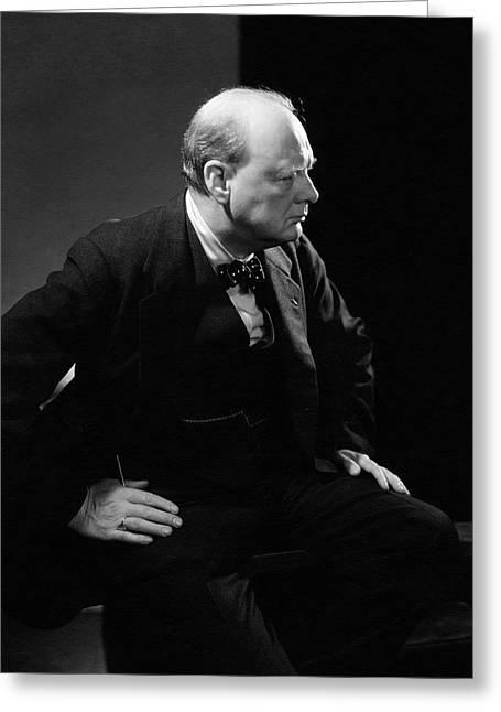 Portrait Of British Prime Minister Winston Greeting Card by Edward Steichen