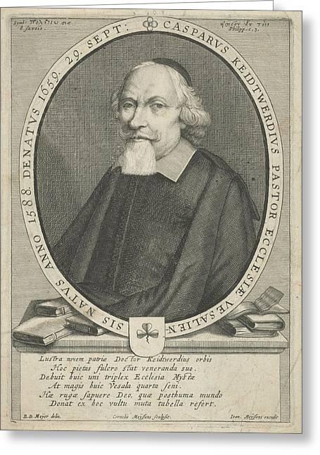 Portrait Of Casparus Keidtwerdius, Cornelis Meyssens Greeting Card by Cornelis Meyssens And Joannes Meyssens