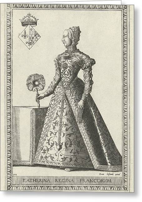 Portrait Of Catherine De Medici, Frans Huys Greeting Card by Frans Huys And Hans Liefrinck (i)