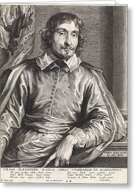 Portrait Of Cesare Alessandro Scaglia, Paulus Pontius Greeting Card by Quint Lox