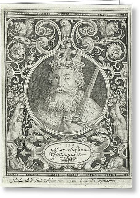 Portrait Of Charlemagne In Medallion Inside Rectangular Greeting Card by Nicolaes De Bruyn And Anonymous