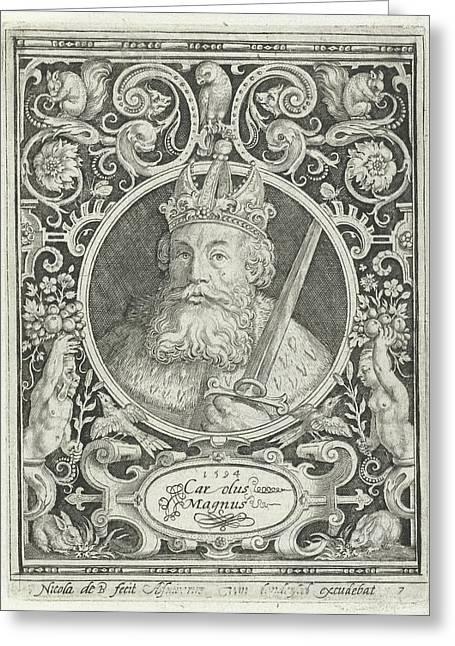 Portrait Of Charlemagne In Medallion Inside Rectangular Greeting Card