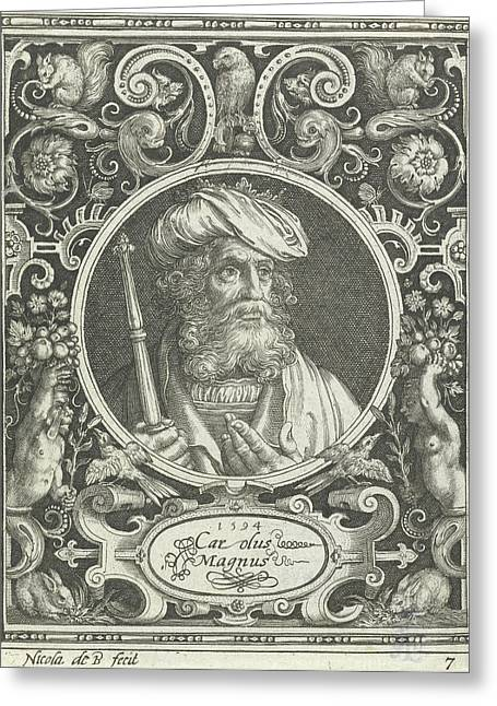 Portrait Of Charlemagne In Medallion Inside Rectangular Greeting Card by Nicolaes De Bruyn