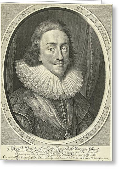 Portrait Of Charles I, King Of England In Oval Greeting Card