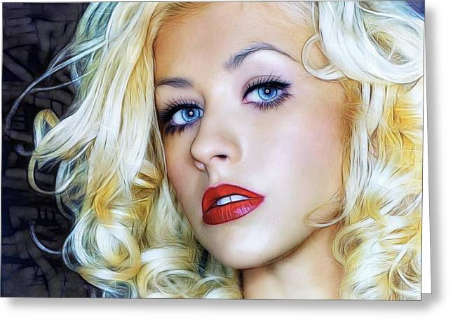 Portrait Of Christina Aguilera Greeting Card by Sippapas Thienmee