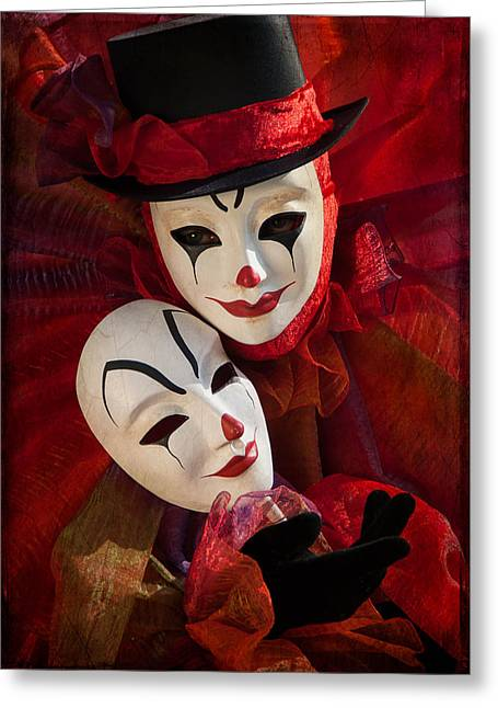 Portrait Of Clown With Mask Greeting Card by Zina Zinchik
