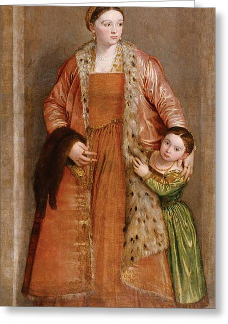 Portrait Of Countess Livia Da Porto Thiene And Her Daughter Deidamia Greeting Card by Paolo Veronese