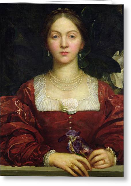 Portrait Of Countess Of Airlie Greeting Card by George Frederick Watts