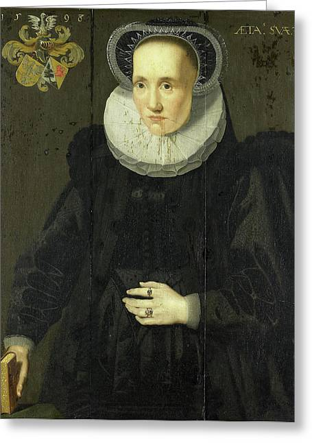 Portrait Of Cunera Van Martena, Wife Of Rudolph Van Buynou Greeting Card