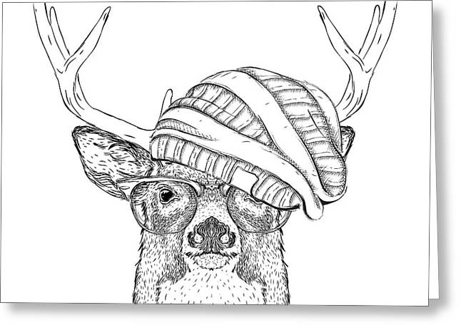 Portrait Of Deer In A Hat. Vector Greeting Card