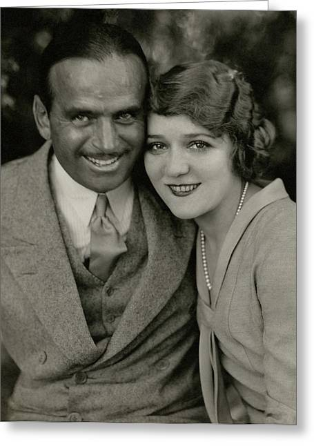Portrait Of Douglas Fairbanks And Mary Pickford Greeting Card by Edward Steichen