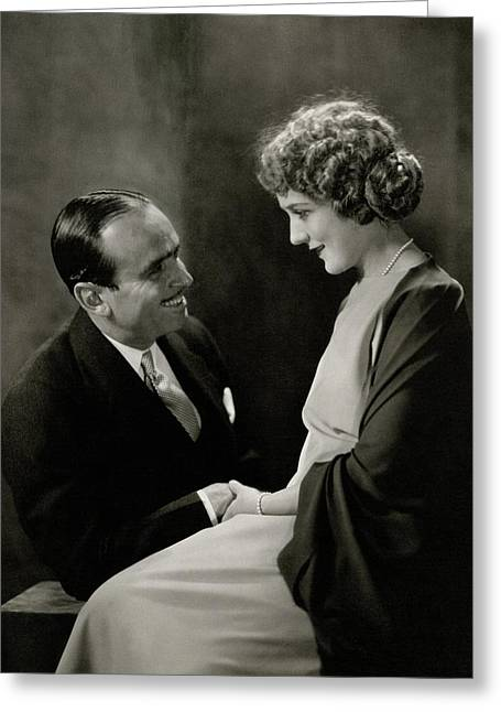 Portrait Of Douglas Fairbanks With His Wife Greeting Card by Edward Steichen