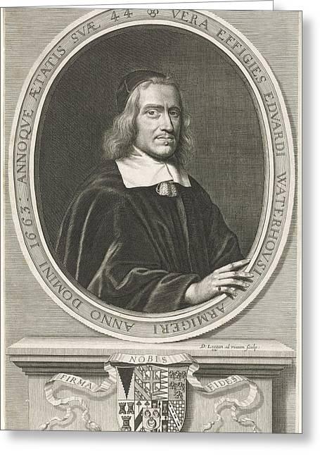 Portrait Of Edward Waterhouse, David Loggan Greeting Card