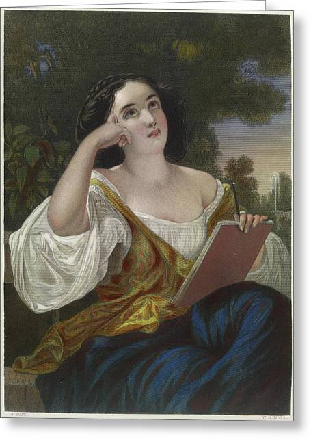 Portrait Of Eleanore Greeting Card by British Library
