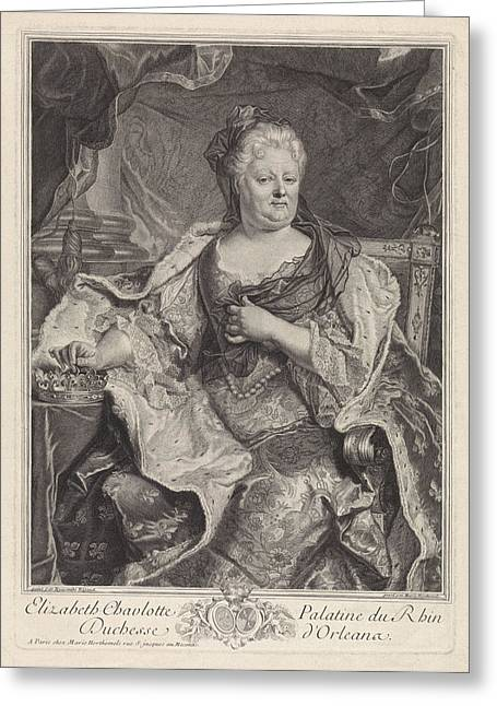 Portrait Of Elizabeth Charlotte Of The Palatinate Greeting Card by Louise Magdeleine Horthemels