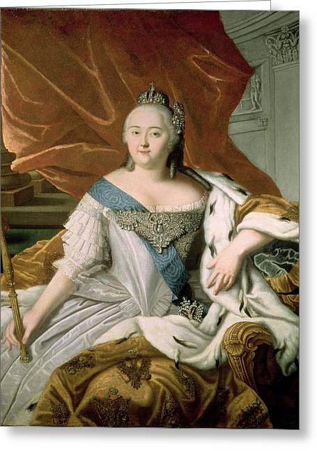 Portrait Of Elizabeth Petrovna 1709-62 Empress Of Russia, C.1750 Oil On Canvas Greeting Card by Russian School