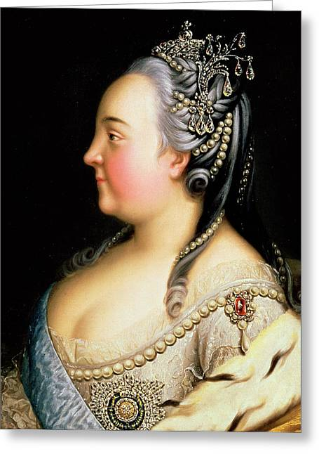 Portrait Of Elizabeth Petrovna Empress Of Russia Greeting Card by Heinrich Buchholz