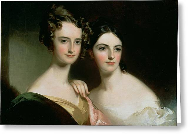 Portrait Of Ellen And Mary Mcilvaine, 1834 Oil On Canvas Greeting Card by Thomas Sully