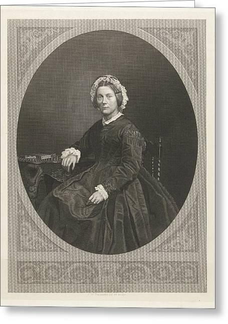 Portrait Of Emma Boissevain - Nicholls, Friedrich Wilhelm Greeting Card by Friedrich Wilhelm Burmeister