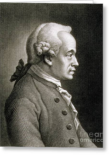 Portrait Of Emmanuel Kant Greeting Card by French School
