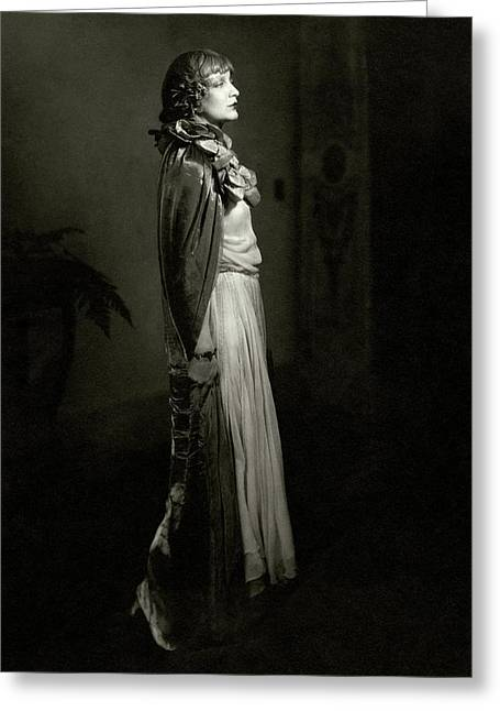 Portrait Of Estelle Winwood Greeting Card by Edward Steichen