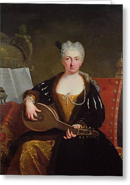 Portrait Of Faustina Bordoni, Handels Singer Greeting Card by Bartolommeo Nazari
