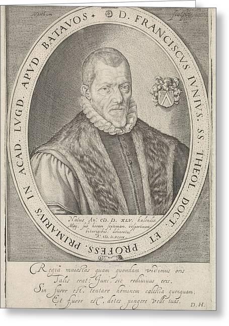 Portrait Of Francis Junius, Jacob Matham Greeting Card