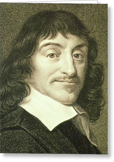 Portrait Of French Mathematician Rene Descartes Greeting Card
