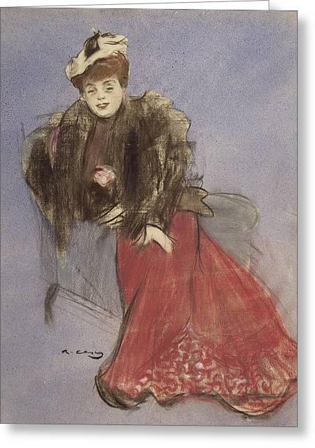 Portrait Of Gabrielle Rejane Greeting Card by Ramon Casas