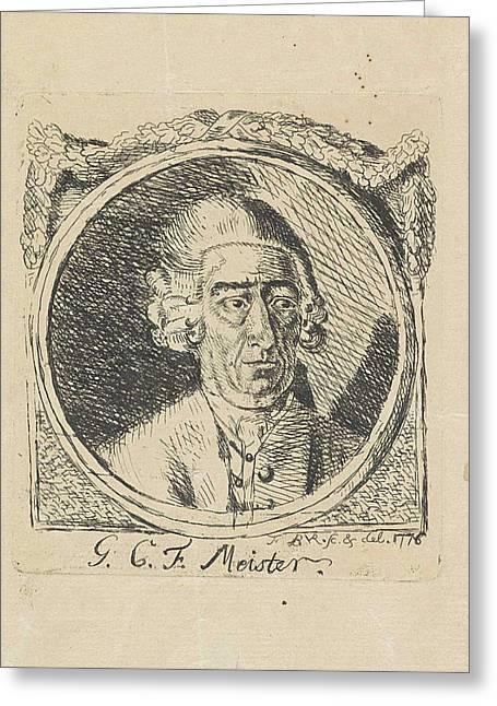 Portrait Of G.c.f Meister, Monogrammist Fbvr Greeting Card by Monogrammist Fbvr