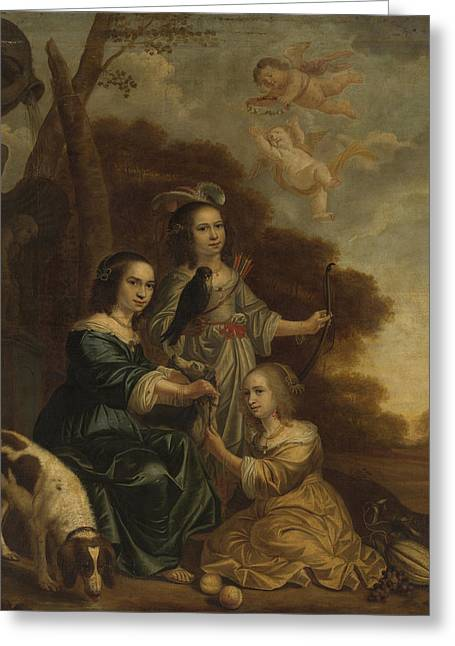 Portrait Of Geertruyt, Margriet And Anna Delff Greeting Card