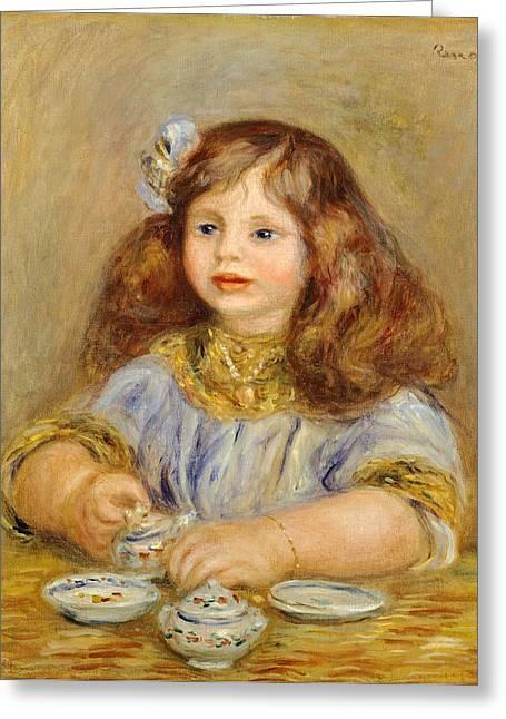 Portrait Of Genevieve Bernheim De Villiers Greeting Card by Pierre-Auguste Renoir