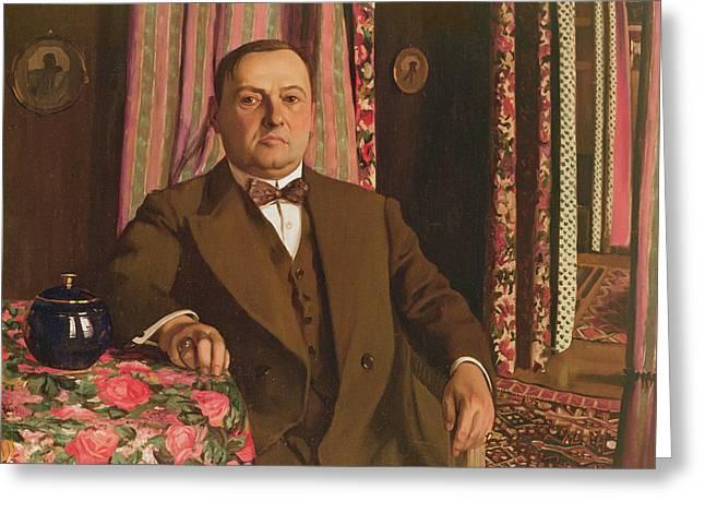 Portrait Of Georg E. Haasen, 1913 Oil On Canvas Greeting Card by Felix Edouard Vallotton