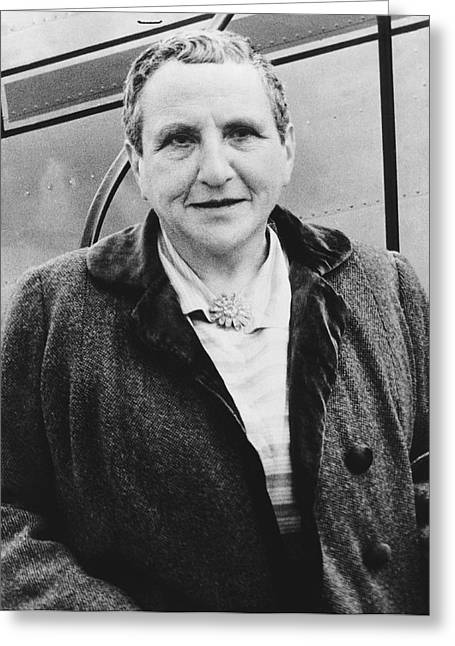 Portrait Of Gertrude Stein Greeting Card by Underwood Archives