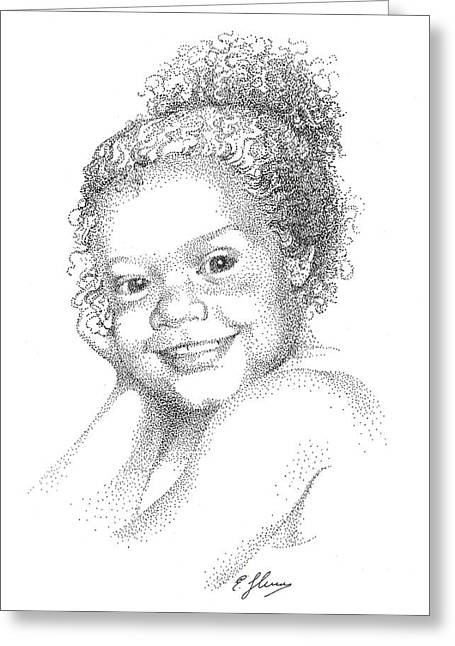 Portrait Of Girl. Commission. Stippling In Black Ink Greeting Card