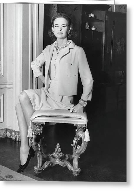 Portrait Of Gloria Vanderbilt Sitting On A Stool Greeting Card by Horst P. Horst