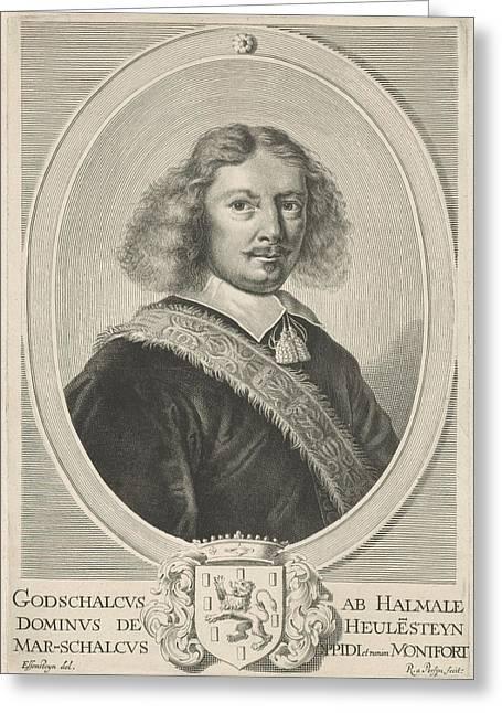 Portrait Of Godschalck Of Halmale, Reinier Van Persijn Greeting Card by Reinier Van Persijn