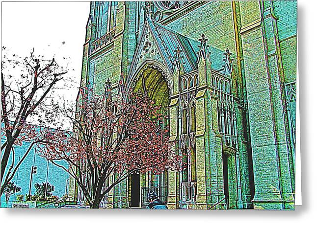 Portrait Of Grace Cathedral In San Francisco-california  Greeting Card