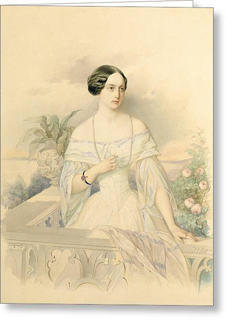 Portrait Of Grand Duchess Olga Nikolaevna Greeting Card by Vladimir Ivanovich Hau